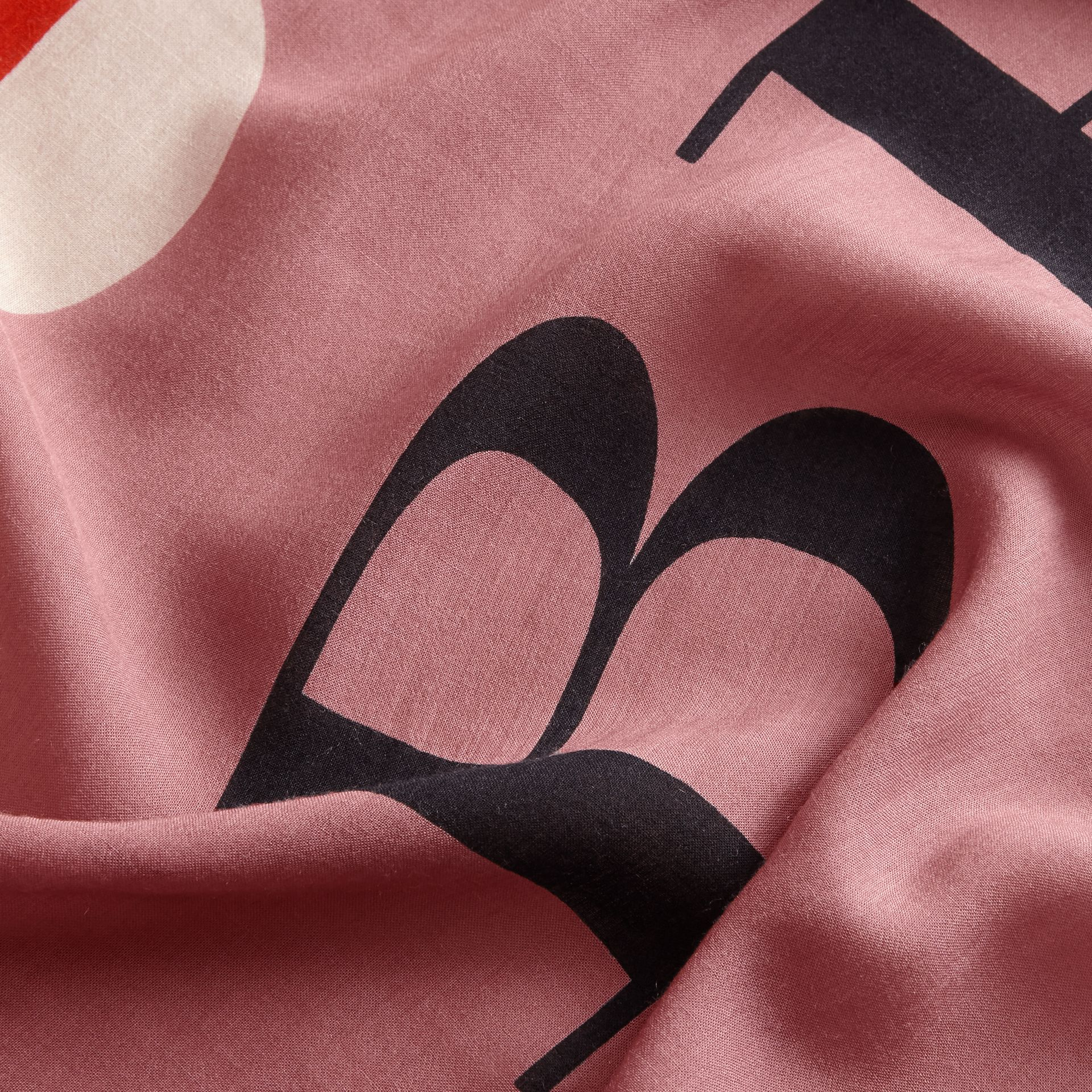 Scallop and Stripe Print Modal Wool Scarf in Dusty Pink - Women | Burberry Australia - gallery image 2