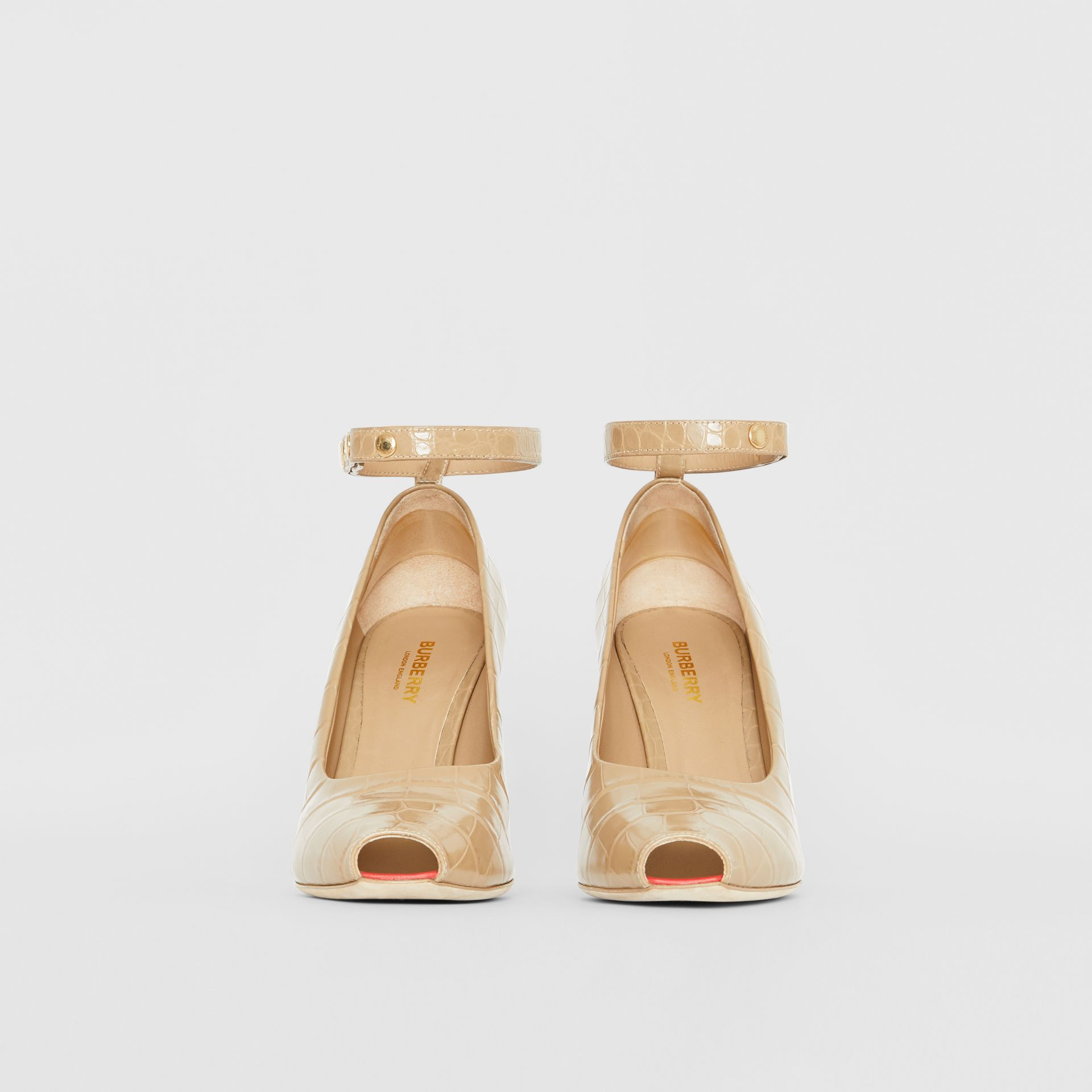 D-ring Detail Embossed Leather Peep-toe Pumps in Dark Honey - Women | Burberry Singapore - gallery image 3