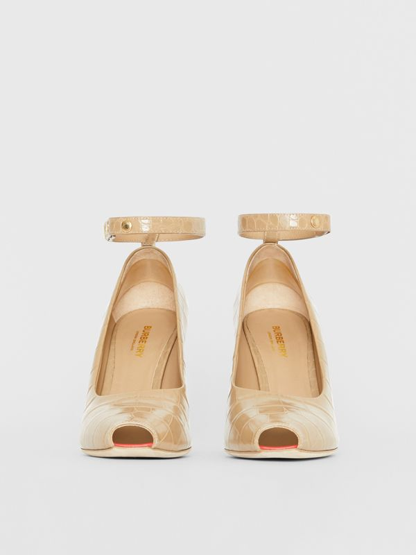 D-ring Detail Embossed Leather Peep-toe Pumps in Dark Honey - Women | Burberry - cell image 3