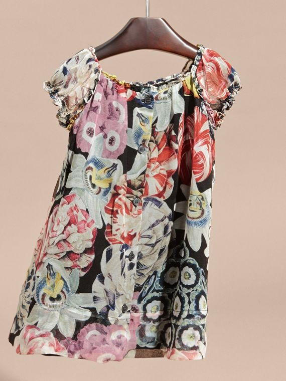 Black Ruched Detail Painterly Floral Print Silk Dress - cell image 3