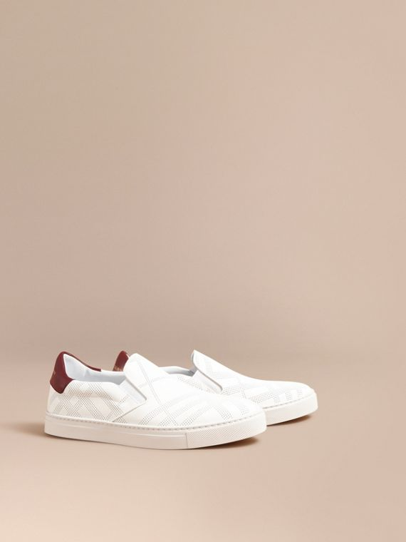 Perforated Check Leather Slip-on Trainers in Optic White/deep Claret Melange - Men | Burberry Singapore