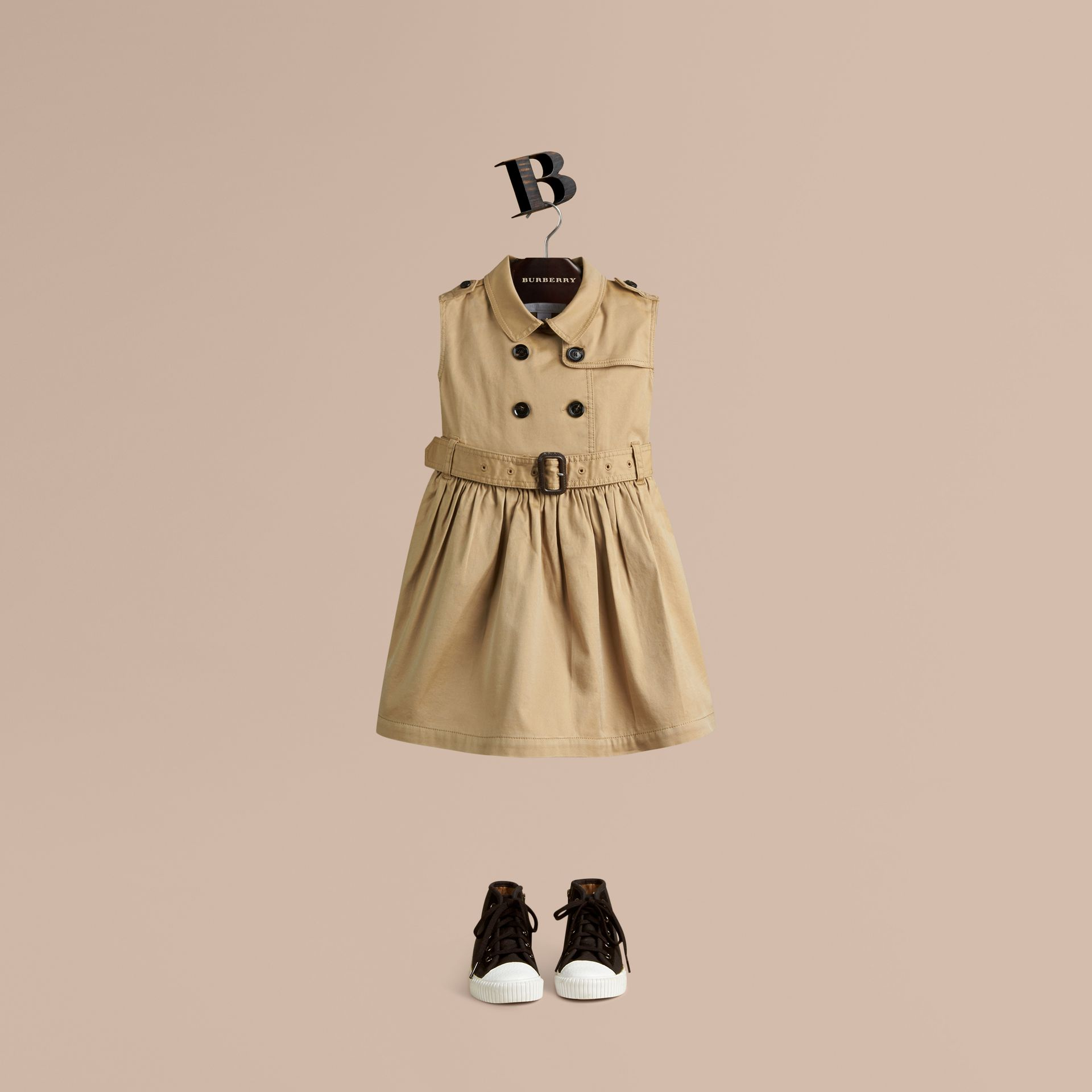 Honey Stretch-cotton Trench Dress - gallery image 1
