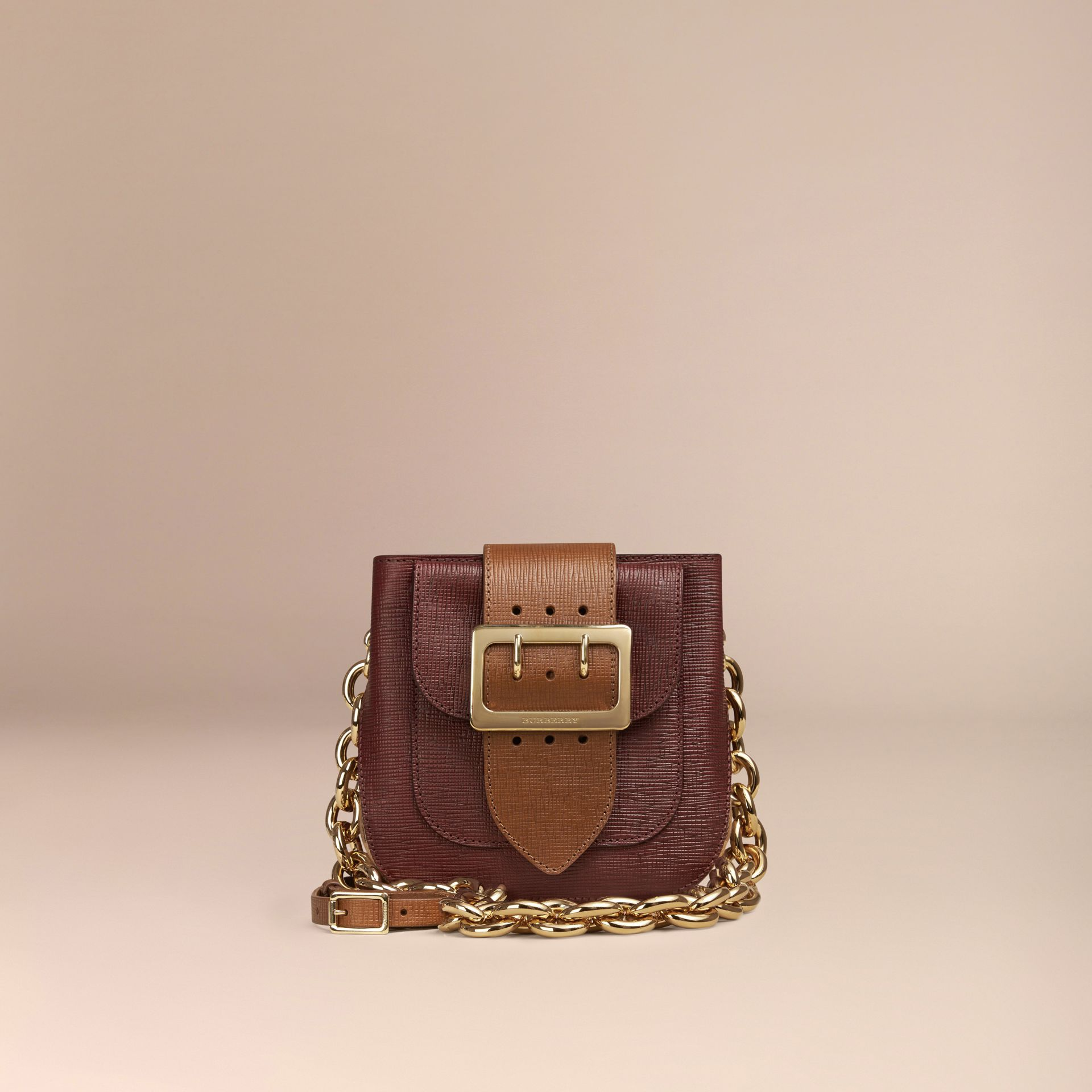 Burgundy The Small Square Buckle Bag in Leather and House Check Burgundy - gallery image 7