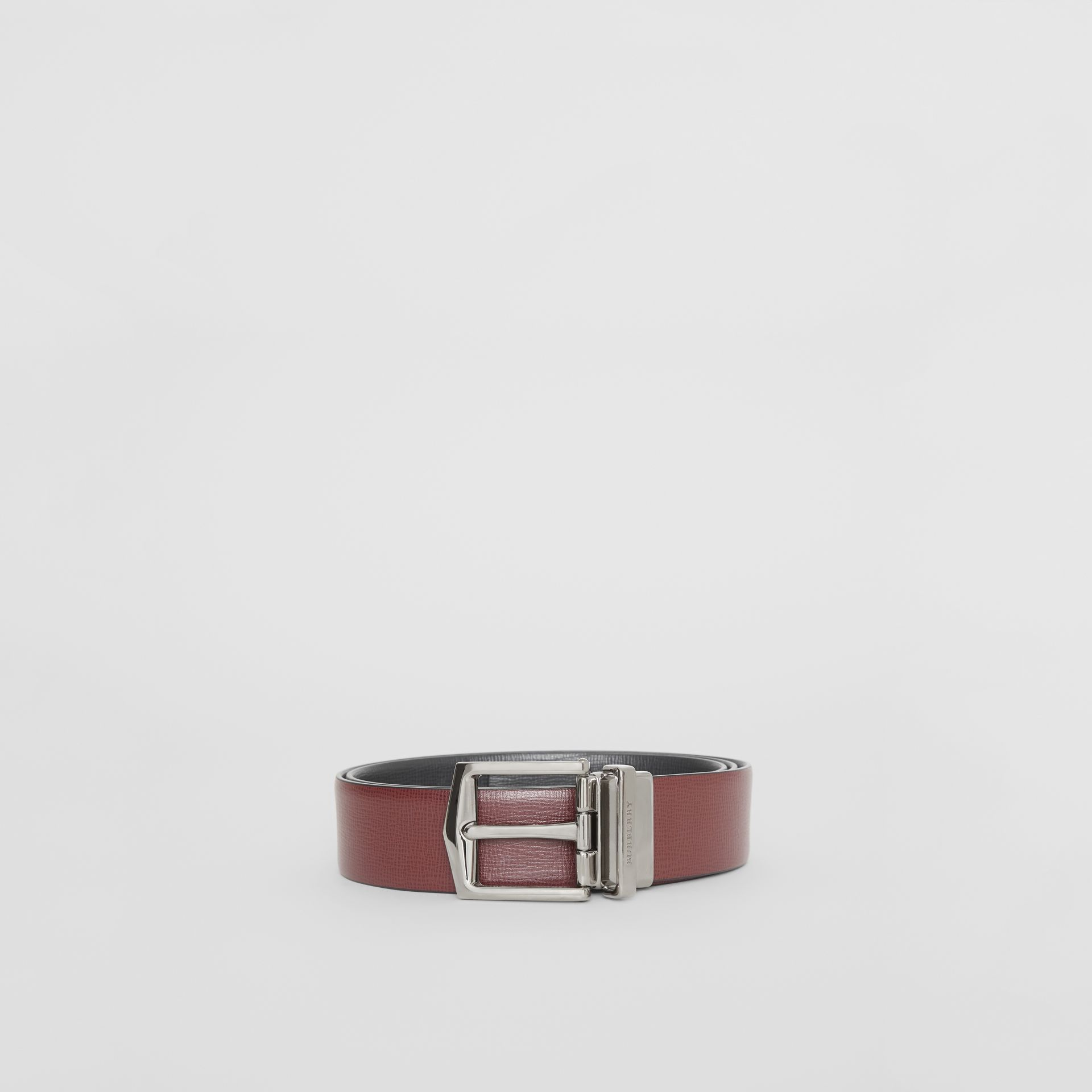 Reversible London Leather Belt in Burgundy Red/black - Men | Burberry Canada - gallery image 4