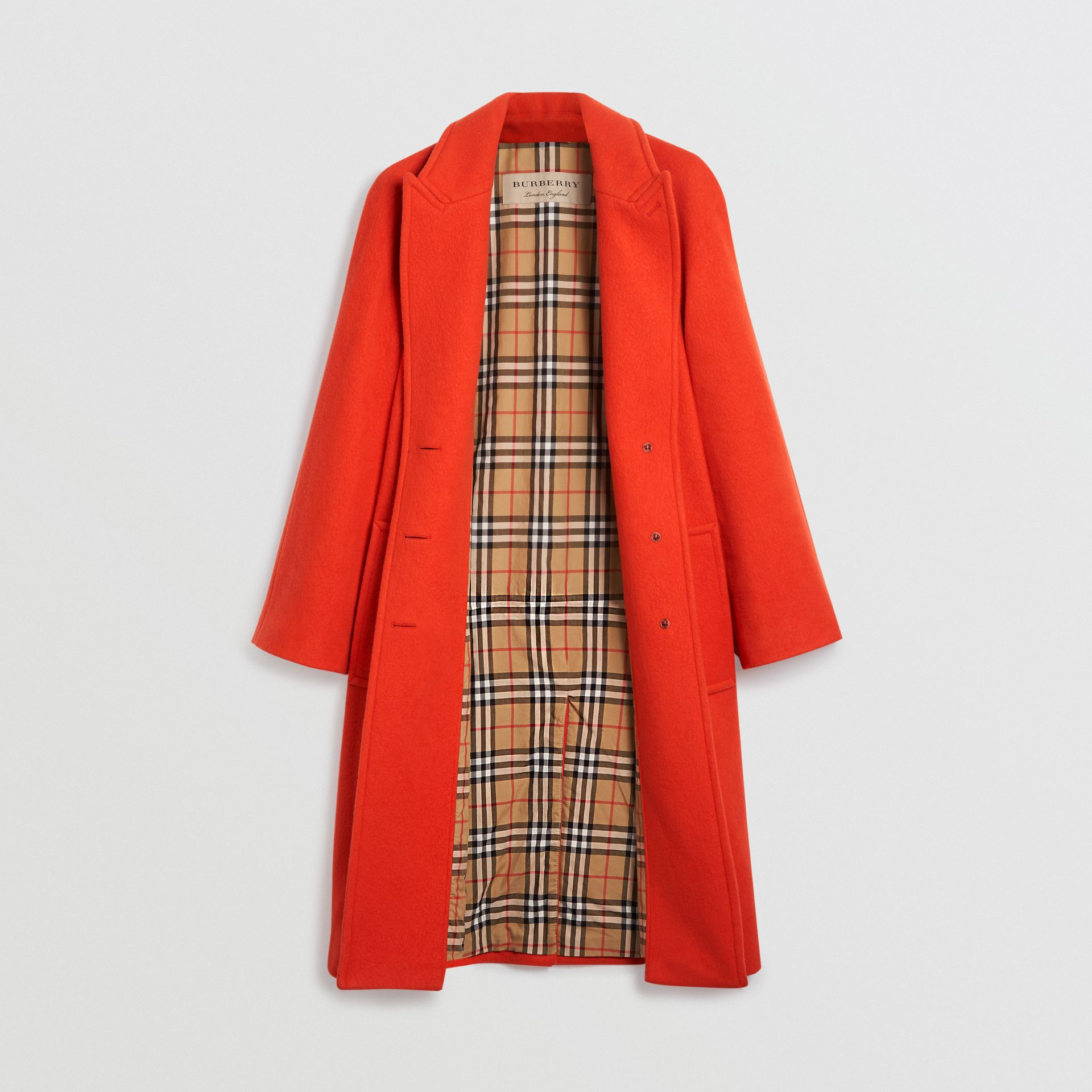 Wool Blend Tailored Coat in Bright Red - Women | Burberry Singapore - gallery image 1