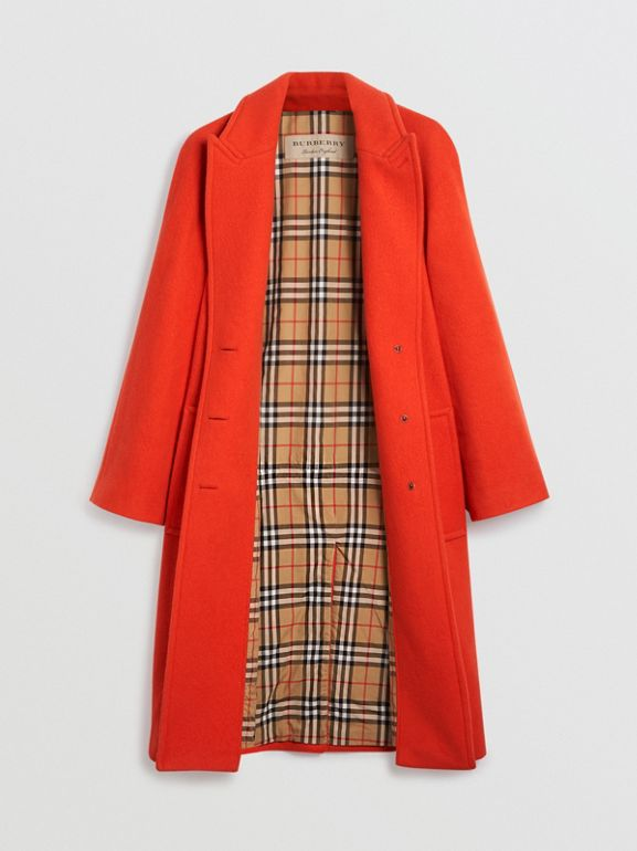 Wool Blend Tailored Coat in Bright Red - Women | Burberry - cell image 1