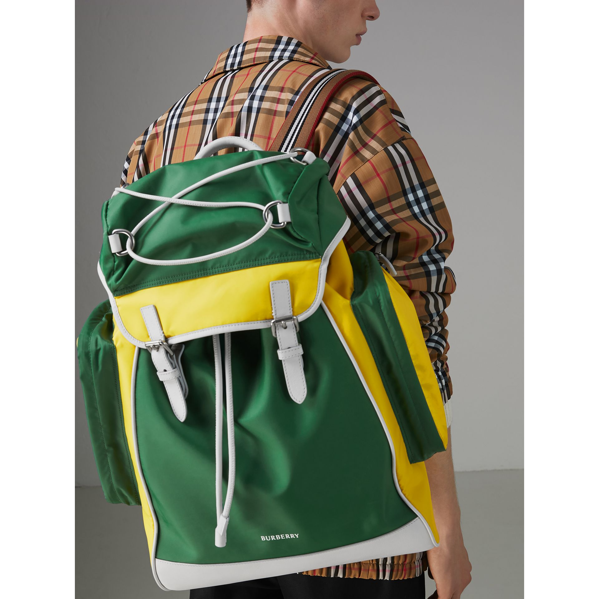 Tri-tone Nylon and Leather Backpack in Pine Green - Men | Burberry - gallery image 3