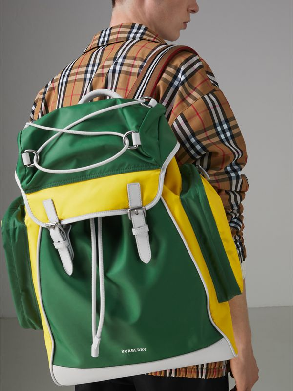 Tri-tone Nylon and Leather Backpack in Pine Green - Men | Burberry - cell image 3