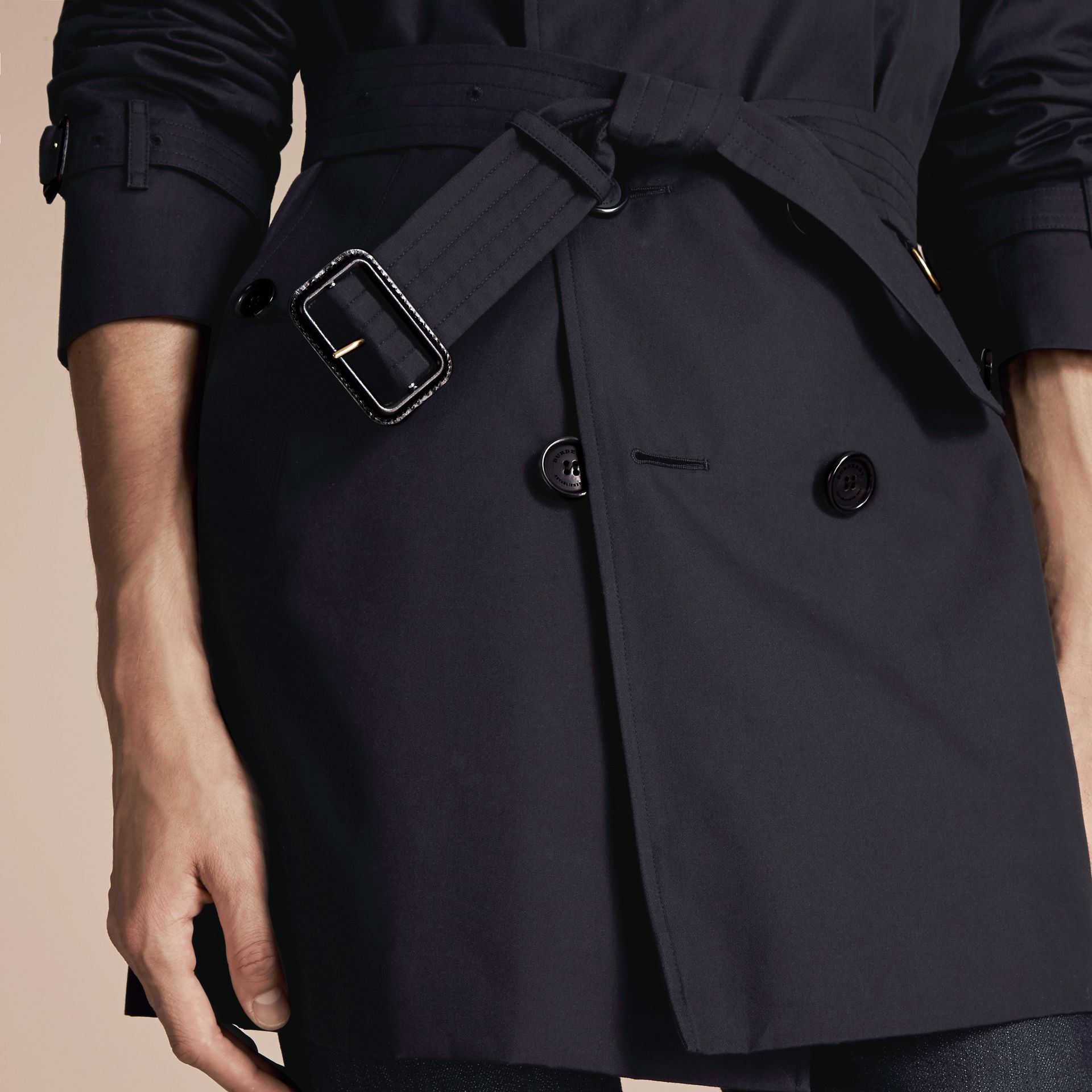 Navy The Kensington – Mid-length Heritage Trench Coat Navy - gallery image 6