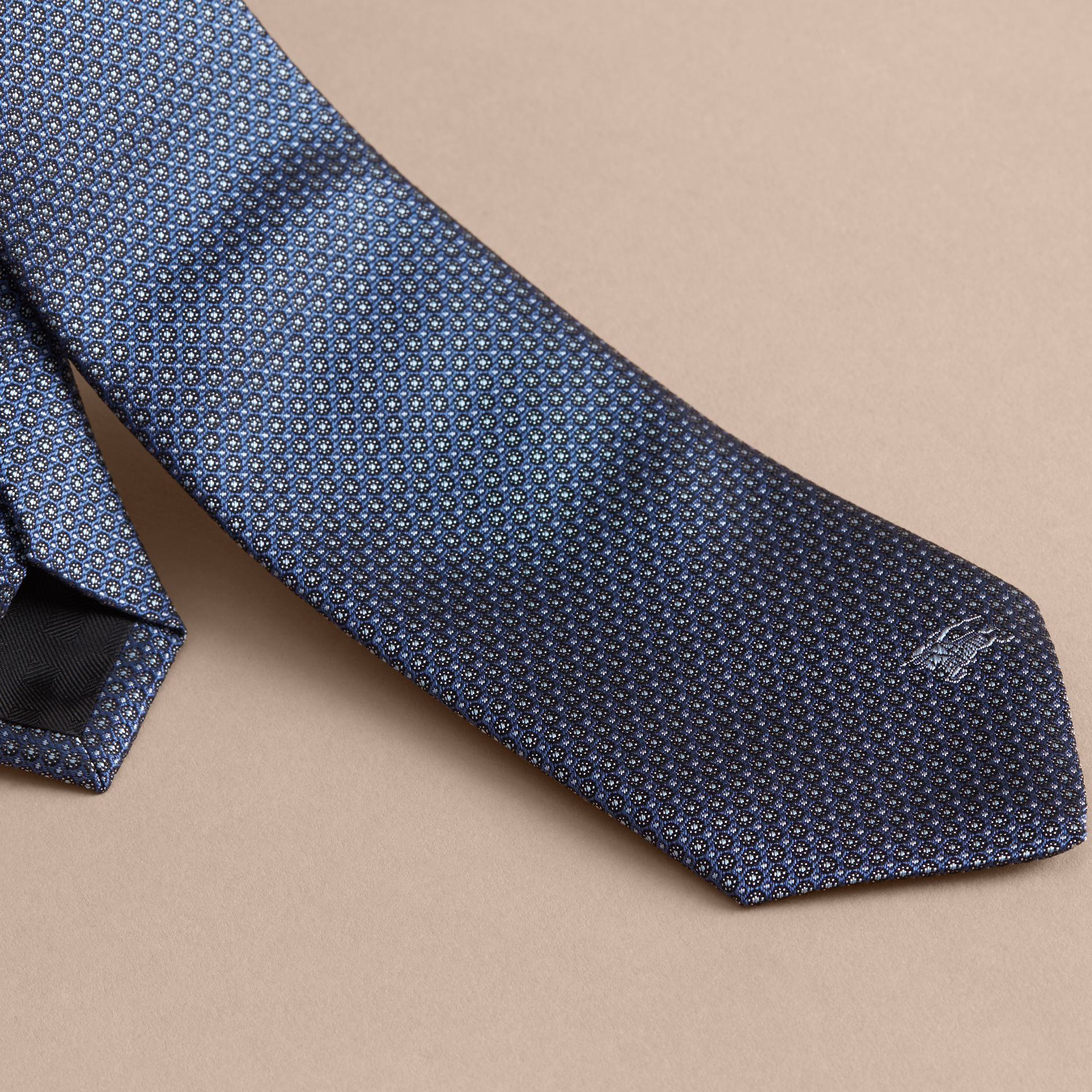 Modern Cut Patterned Silk Tie in Light Blue - gallery image 2