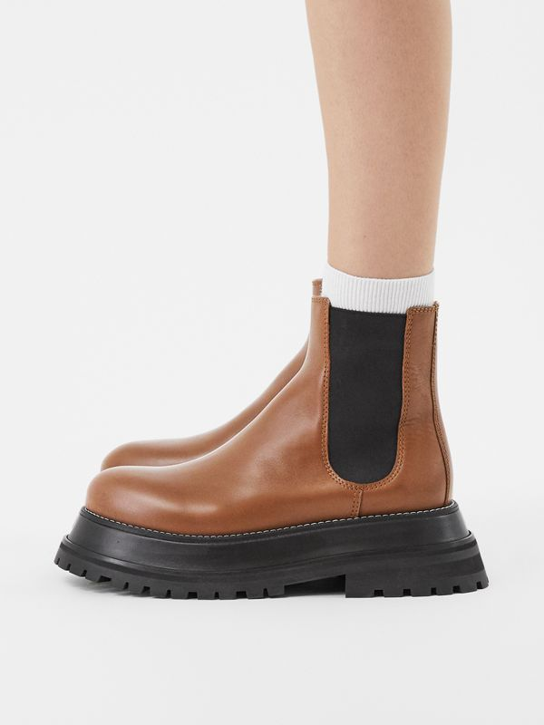 Leather Chelsea Boots in Tan - Women | Burberry Hong Kong S.A.R - cell image 2