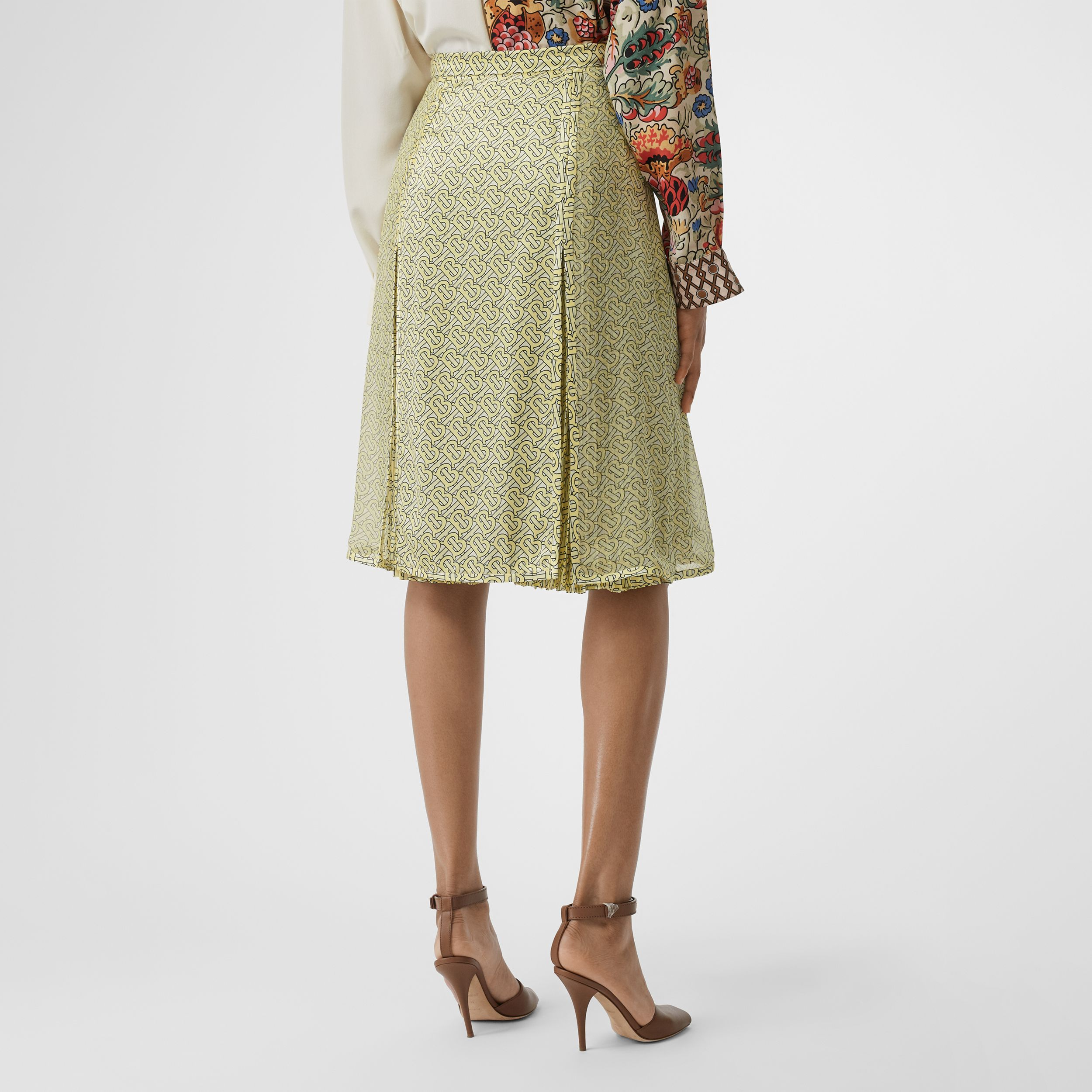 Monogram Print Silk Pleated Skirt in Pale Yellow | Burberry - 3
