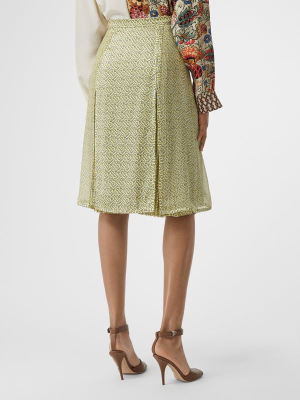 Monogram Print Silk Pleated Skirt in Pale Yellow - Women | Burberry - cell image 2