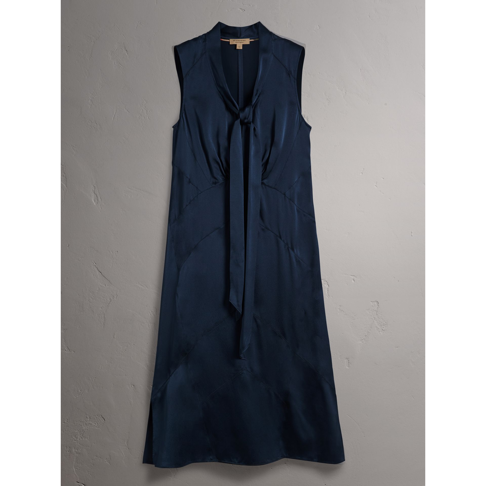 Washed Silk Satin Tie-neck Dress in Navy - Women | Burberry - gallery image 4