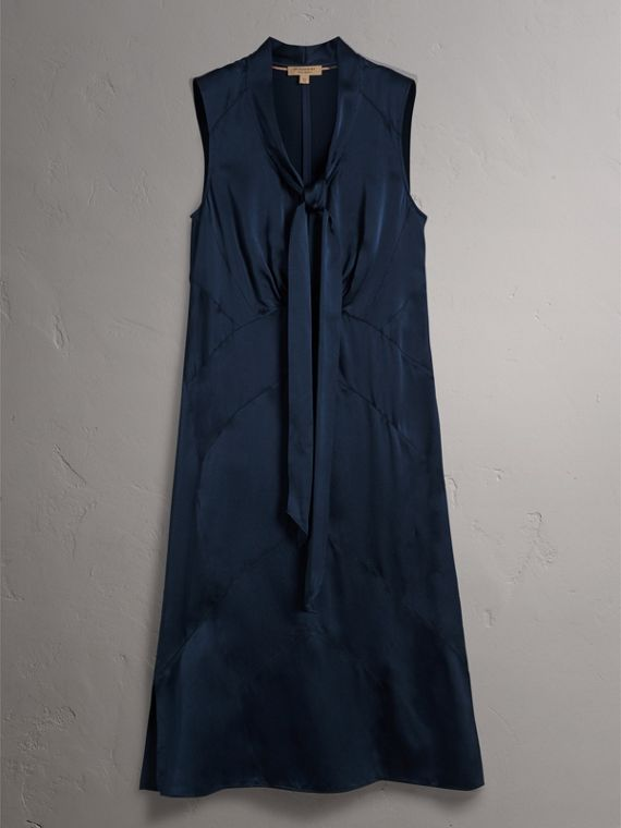 Washed Silk Satin Tie-neck Dress in Navy - Women | Burberry - cell image 3