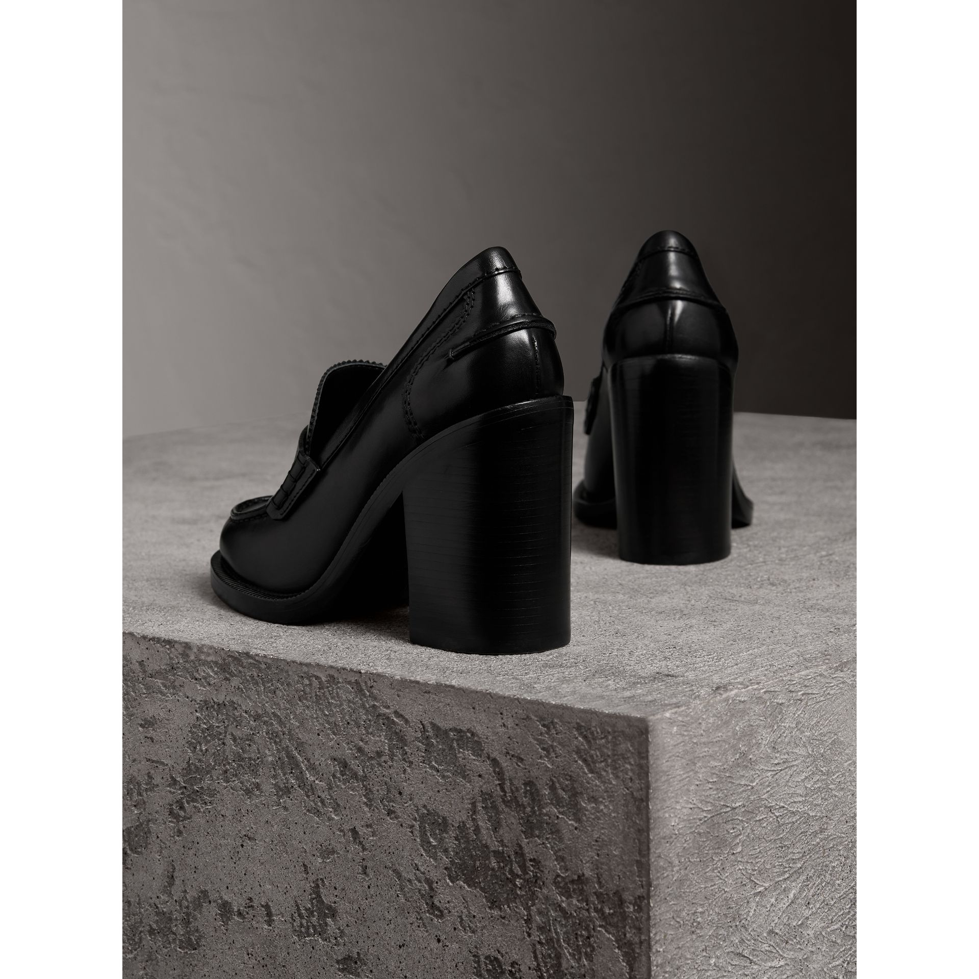 Leather Block-heel Penny Loafers in Black - Women | Burberry - gallery image 3
