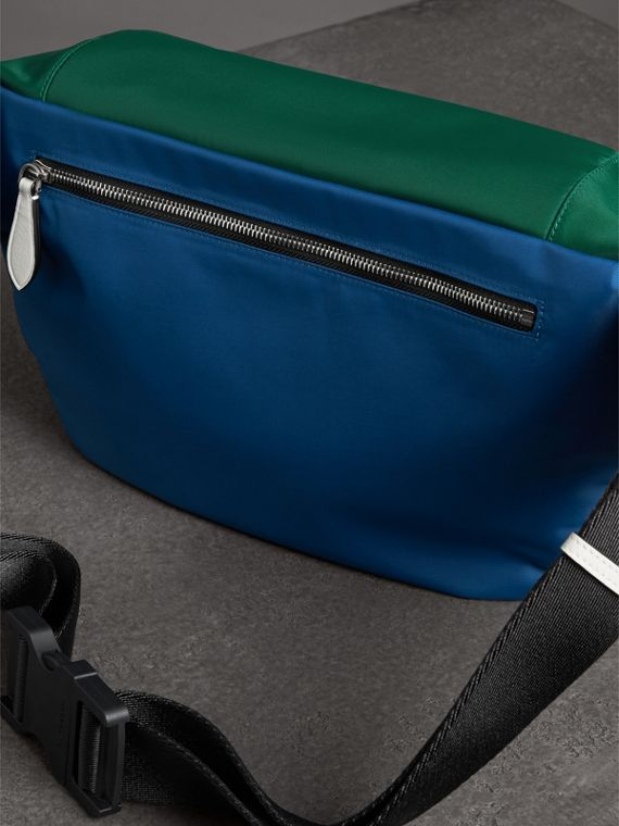 Large Tri-tone Nylon and Leather Bum Bag in Dark Canvas Blue - Men | Burberry - cell image 2