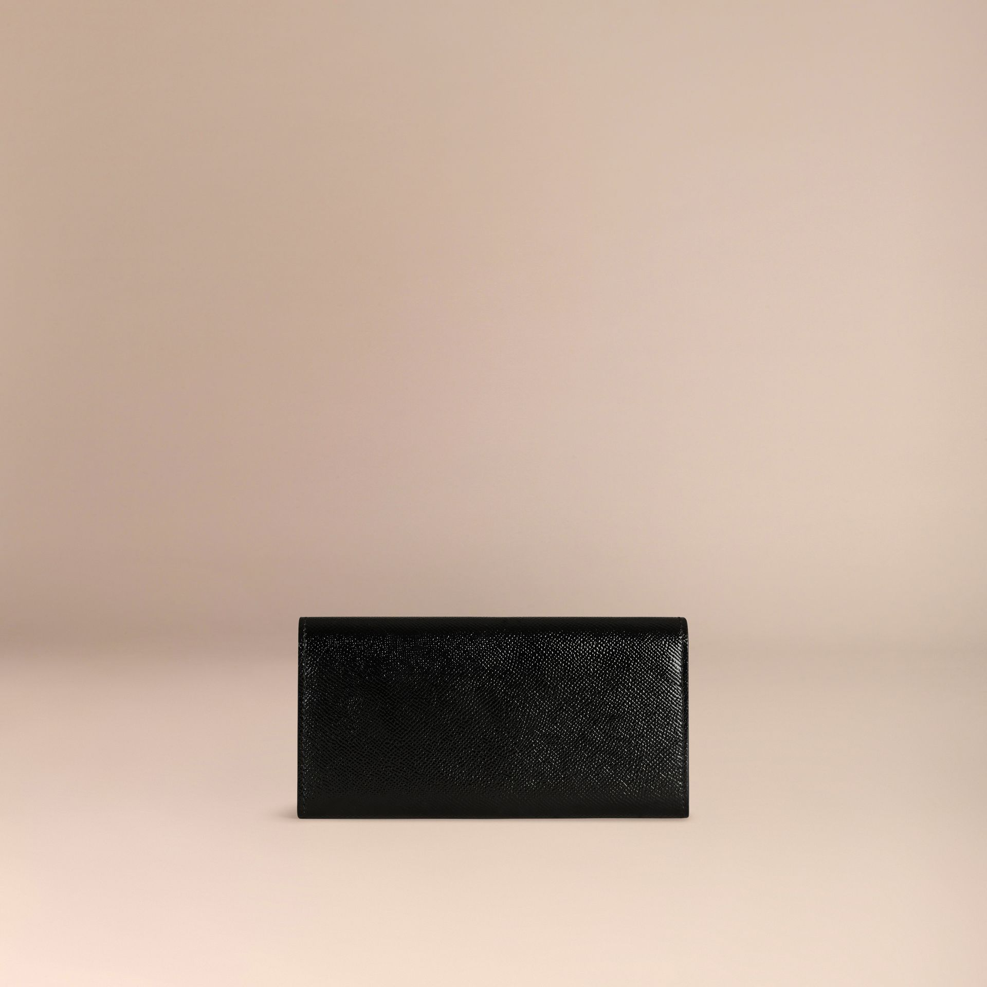 Black Patent London Leather Continental Wallet Black - gallery image 4