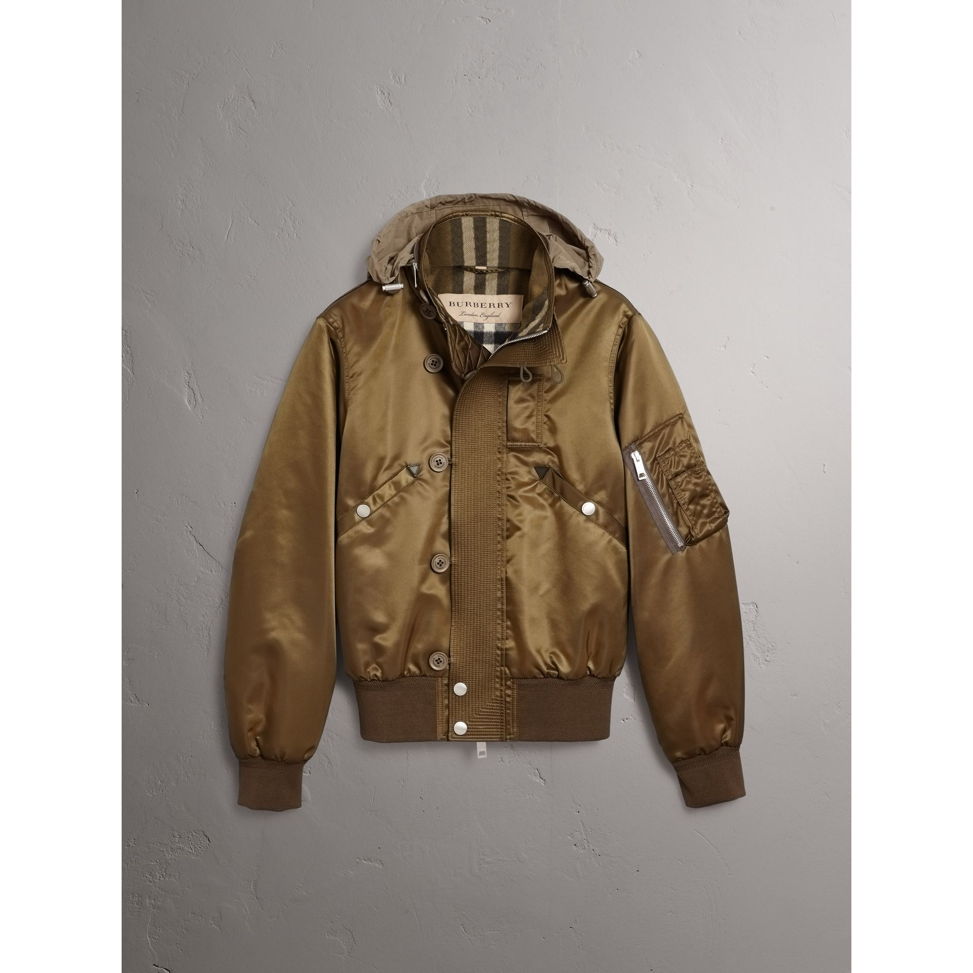 Nylon Bomber Jacket with Packaway Hood in Khaki Brown - Men | Burberry - gallery image 4