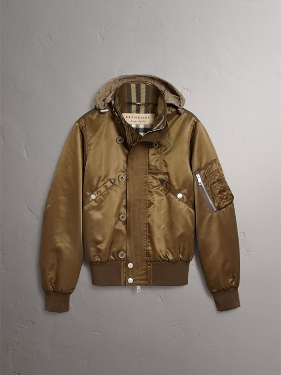 Nylon Bomber Jacket with Packaway Hood in Khaki Brown - Men | Burberry - cell image 3
