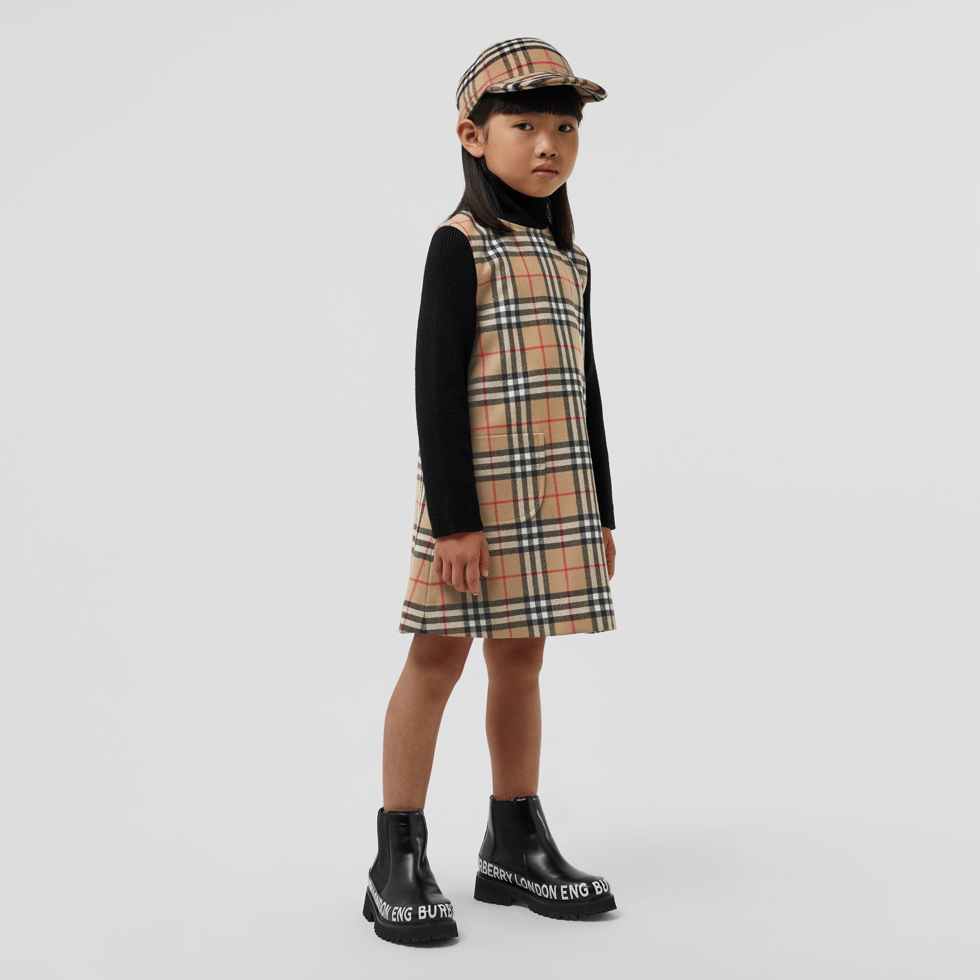 Vintage Check Wool Funnel Neck Dress in Archive Beige | Burberry Singapore - gallery image 2