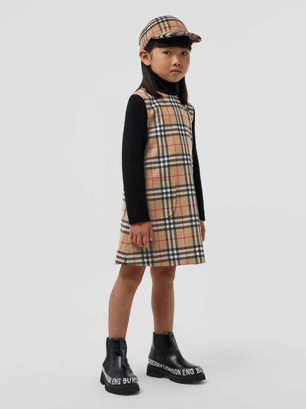 Vintage Check Wool Funnel Neck Dress in Archive Beige | Burberry Singapore - cell image 2