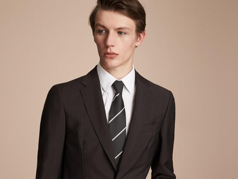 Classic Cut Striped Silk Jacquard Tie in Black - cell image 2