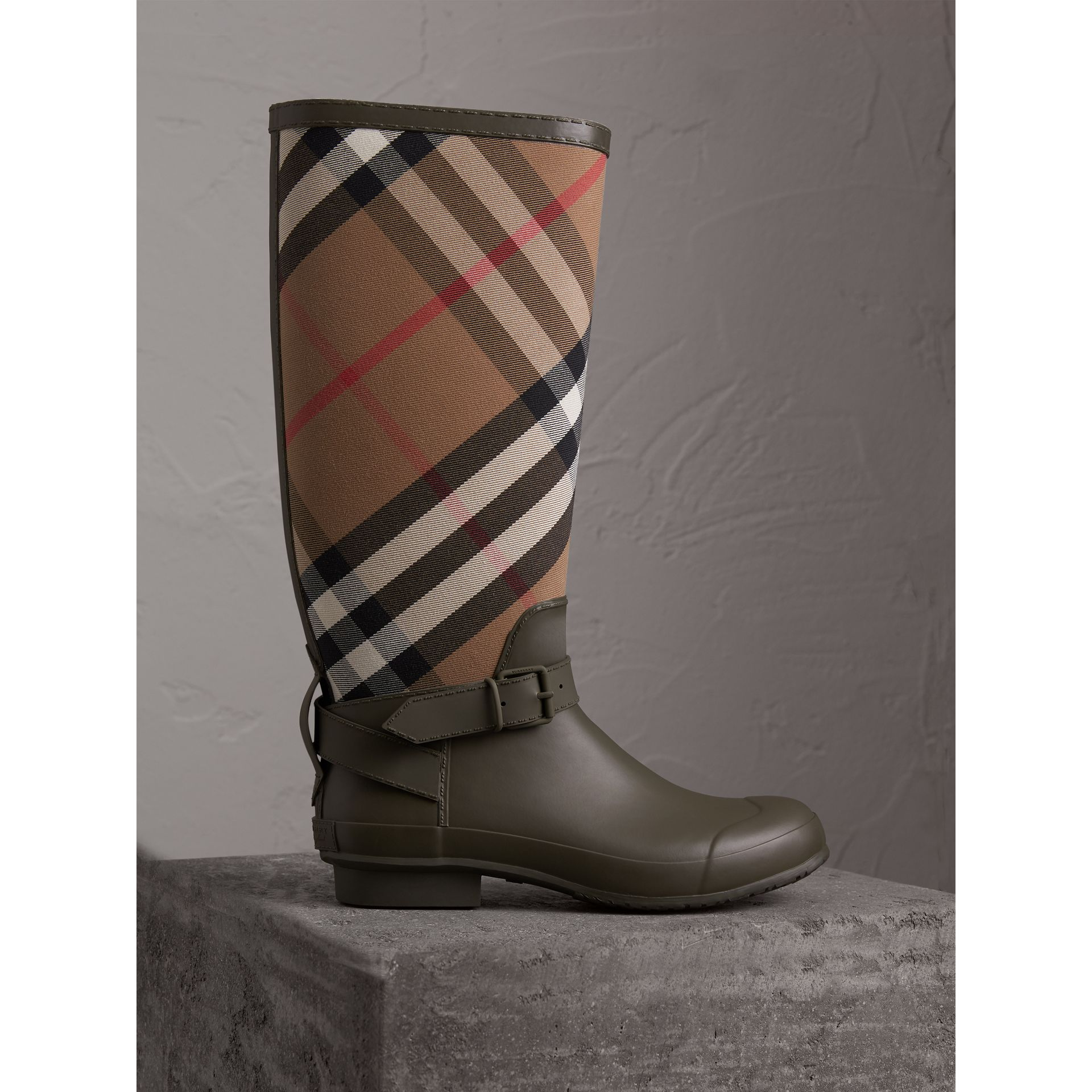 Belt Detail House Check and Rubber Rain Boots in Military Green - Men | Burberry Australia - gallery image 1