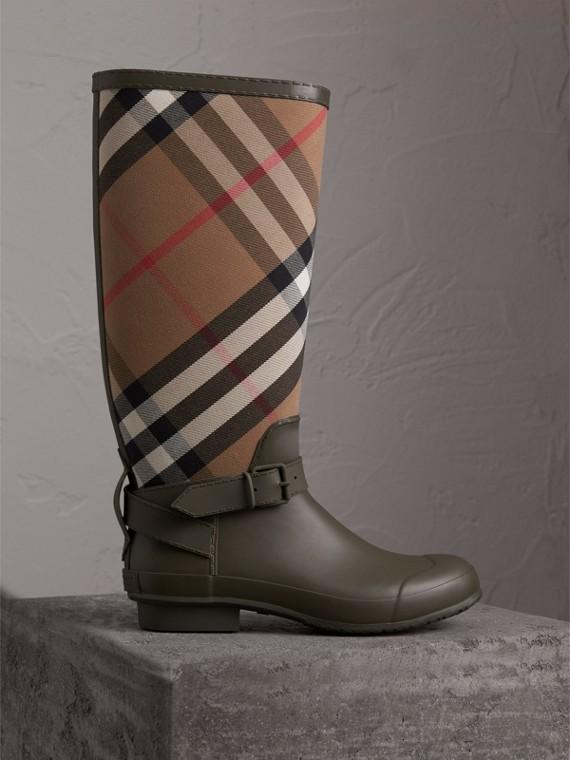 束帶裝飾 House 格紋拼橡膠雨靴 (軍綠色)