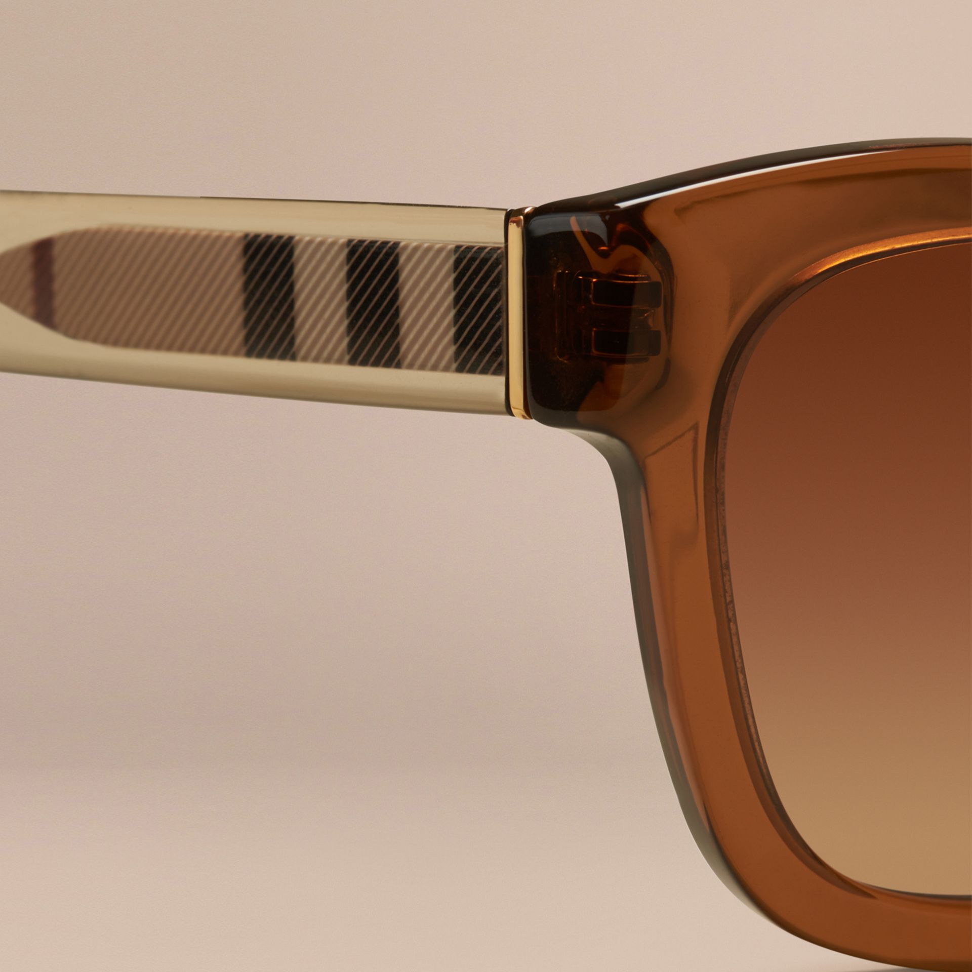 Taupe brown Check Detail Cat-eye Sunglasses Taupe Brown - gallery image 5