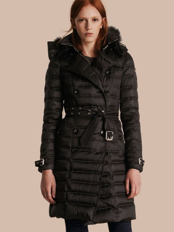 Down-Filled Puffer Coat with Fur Trim Black