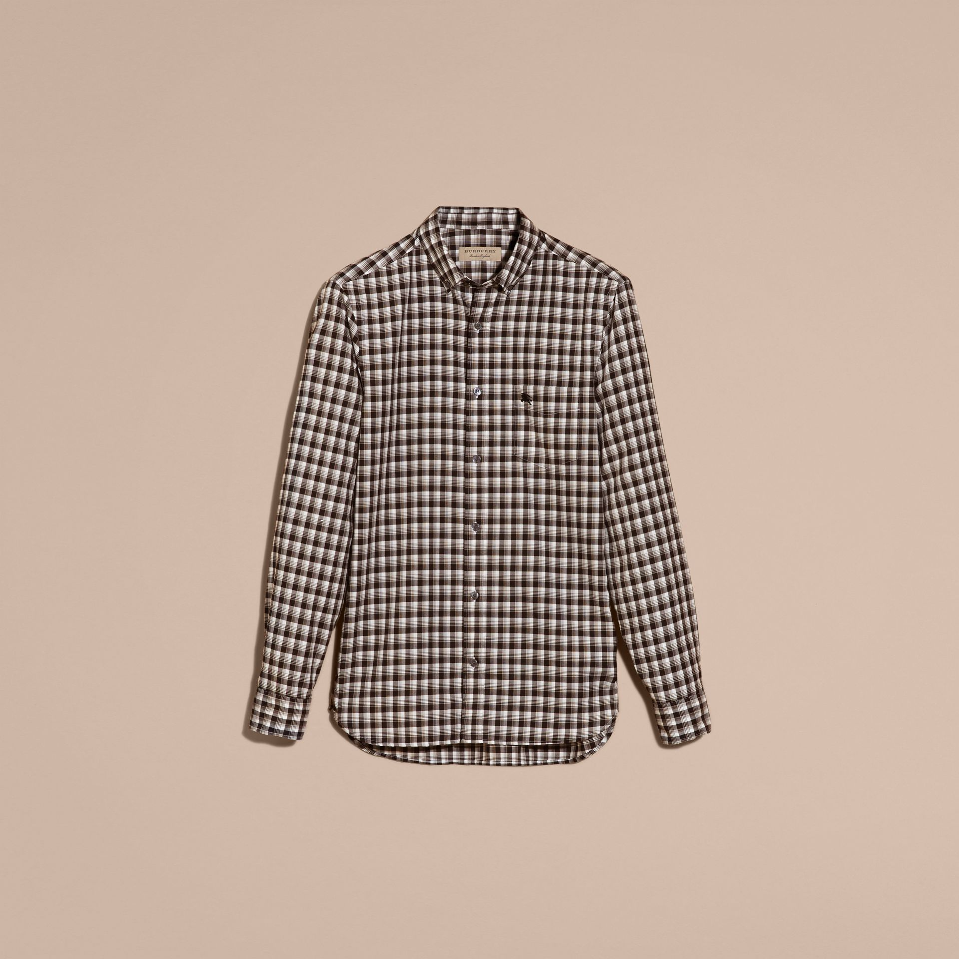 Black Gingham Check Cotton Twill Shirt Black - gallery image 4