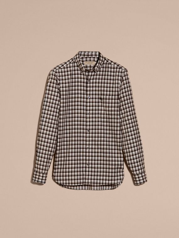 Black Gingham Check Cotton Twill Shirt Black - cell image 3