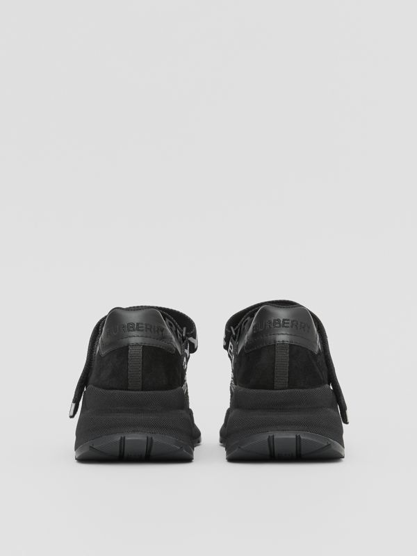 Logo Detail Leather, Nubuck and Mesh Sneakers in Black - Women | Burberry - cell image 3