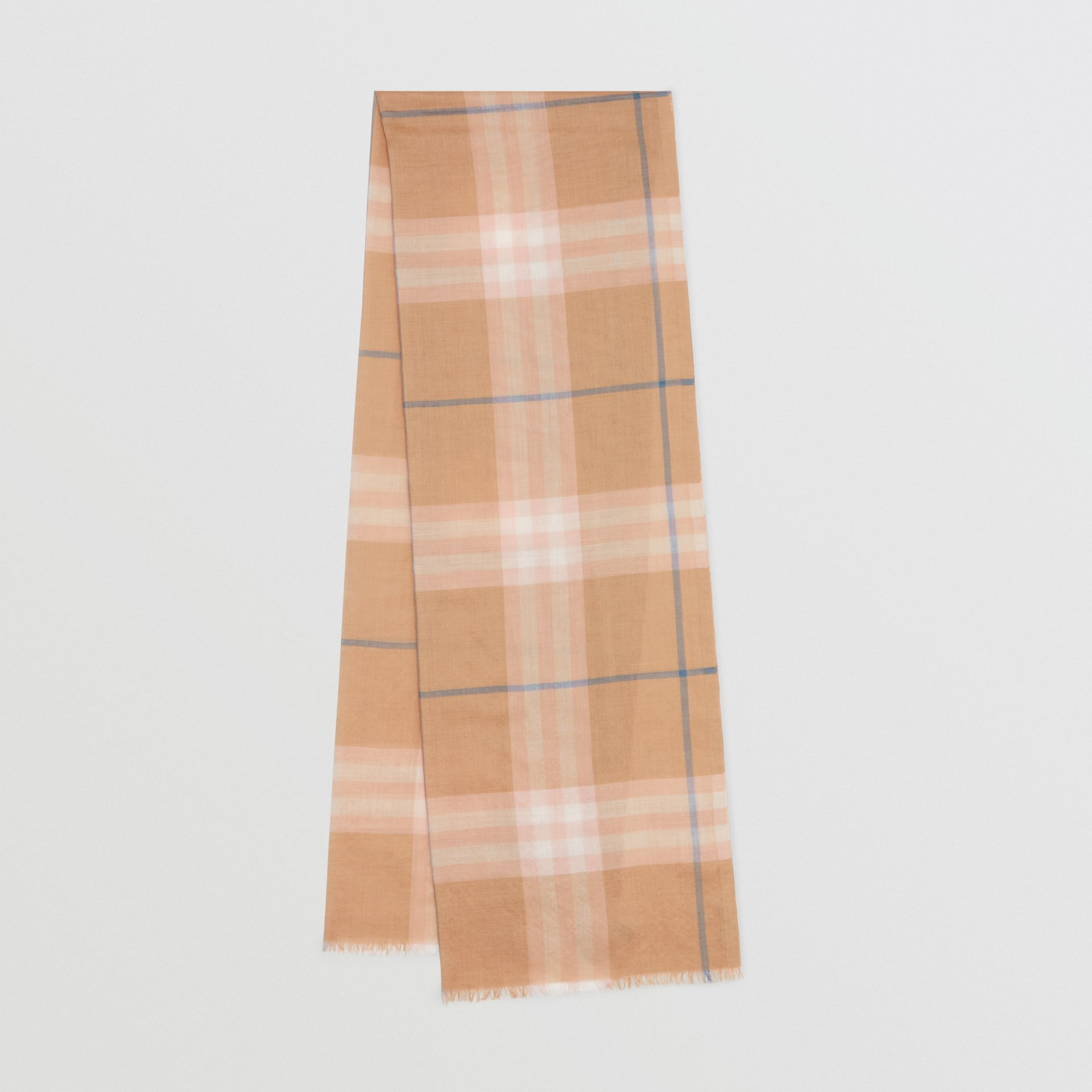 Lightweight Check Wool and Silk Scarf in Fawn - Men | Burberry United States - gallery image 0