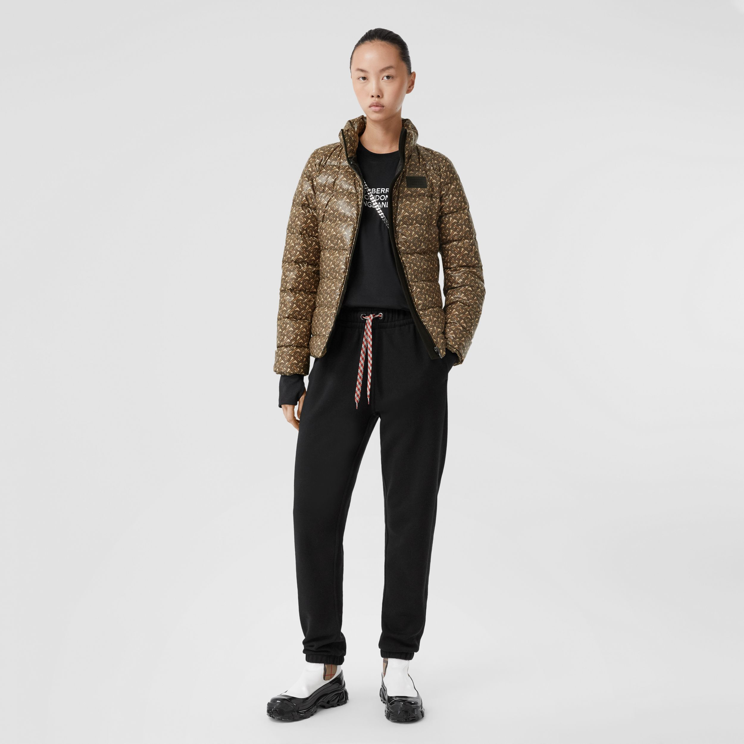 Monogram Print Nylon Puffer Jacket in Bridle Brown - Women | Burberry - 1