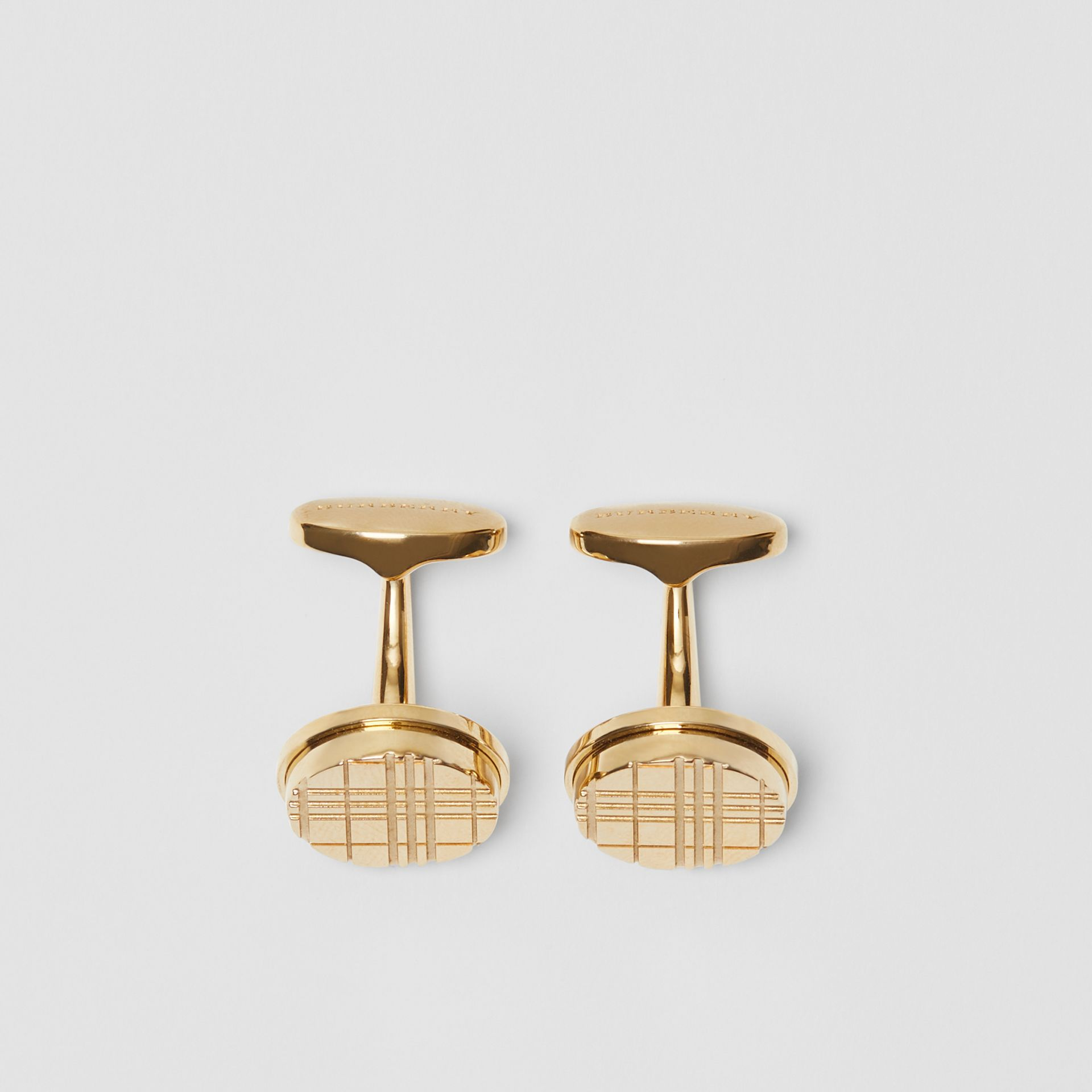 Check-engraved Round Cufflinks in Light Gold - Men | Burberry - gallery image 2