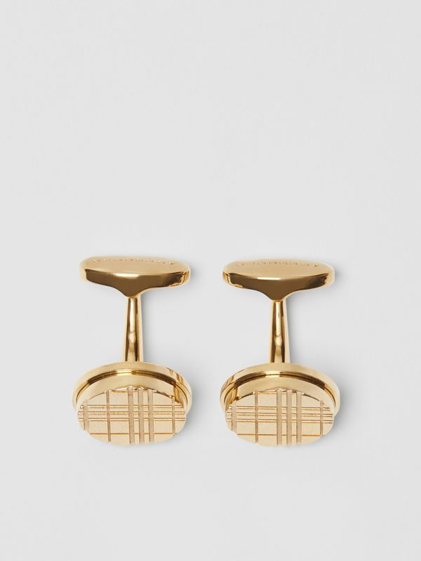 Check-engraved Round Cufflinks in Light Gold - Men | Burberry - cell image 2