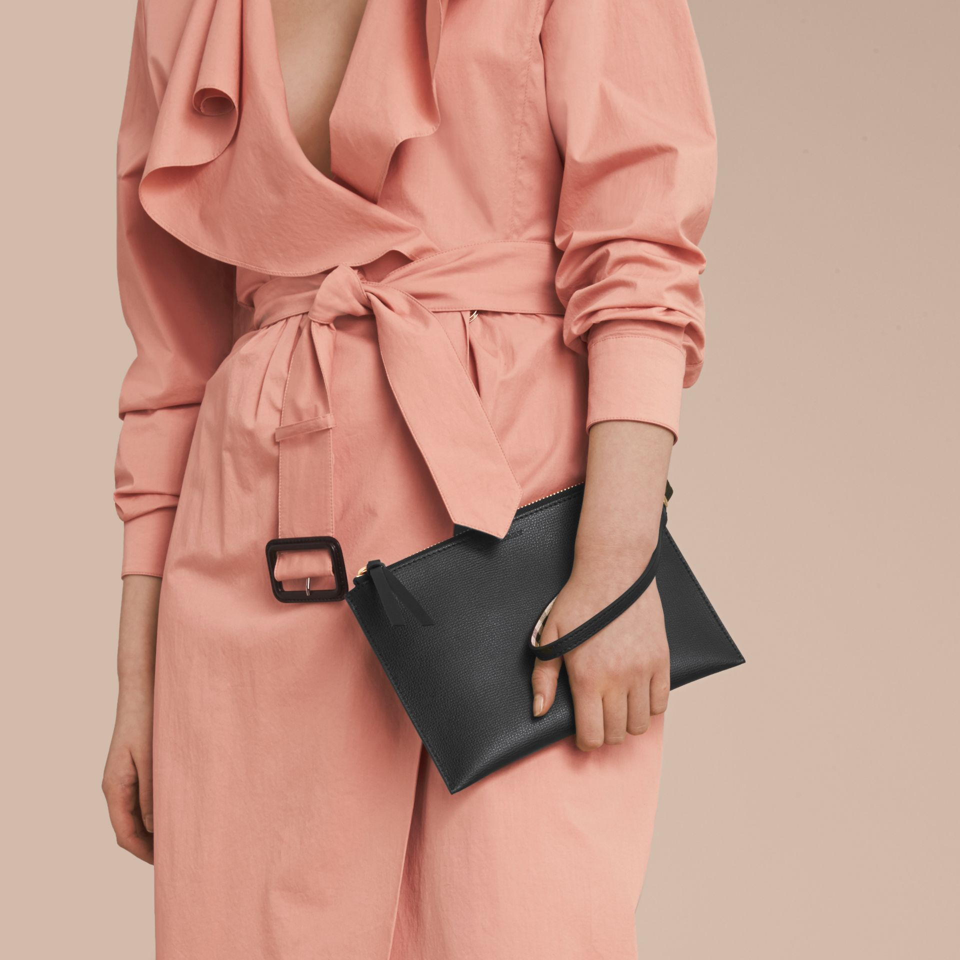 Haymarket Check and Leather Pouch in Black - Women | Burberry Australia - gallery image 3