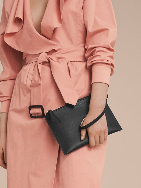 Haymarket Check and Leather Pouch in Black - Women | Burberry Singapore - cell image 2