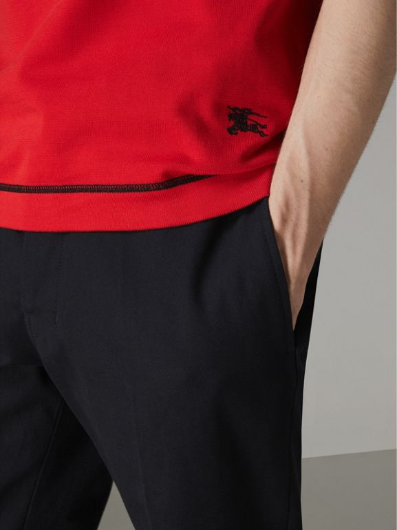 Tipped Cotton Jersey Polo Shirt in Bright Red - Men | Burberry Australia - cell image 1