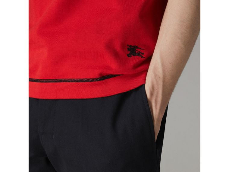 Tipped Cotton Jersey Polo Shirt in Bright Red - Men | Burberry - cell image 1