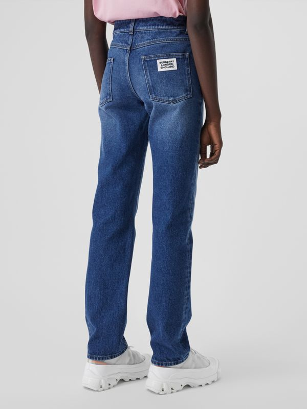 Straight Fit Logo Detail Jeans in Indigo - Women | Burberry United Kingdom - cell image 2
