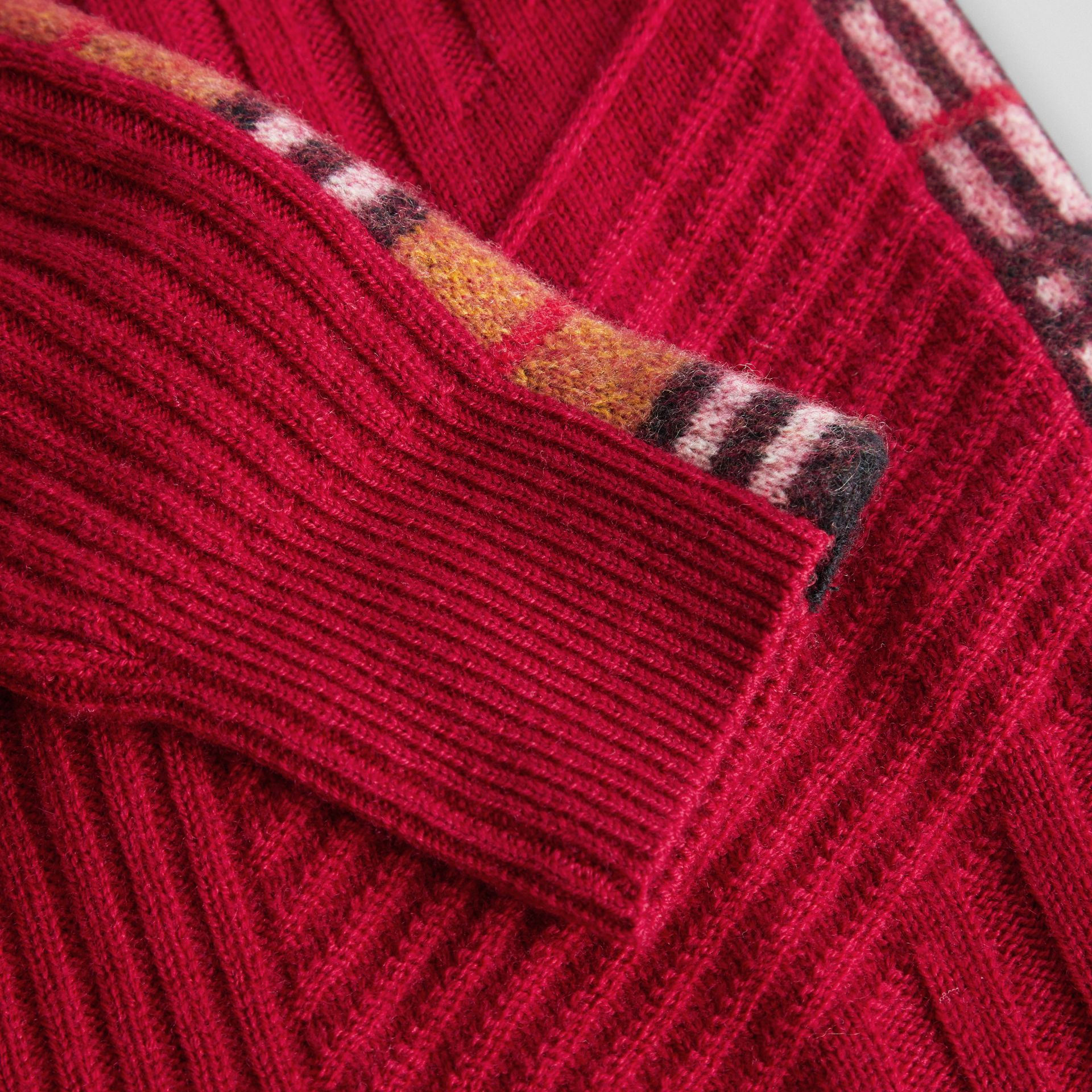 Check Detail Wool Cashmere Dress in Burgundy Red | Burberry United Kingdom - gallery image 1