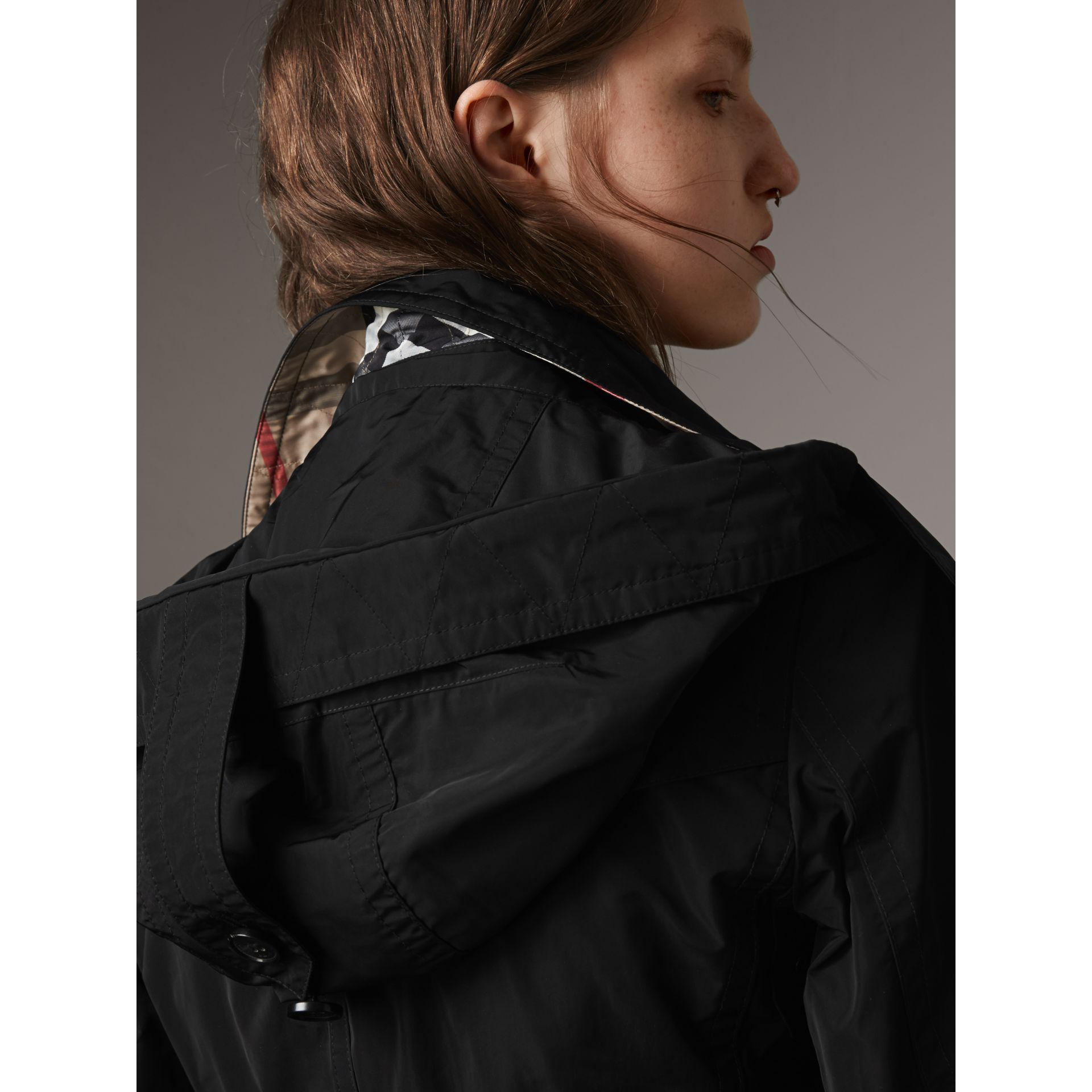 Taffeta Trench Coat with Detachable Hood in Black - Women | Burberry - gallery image 2