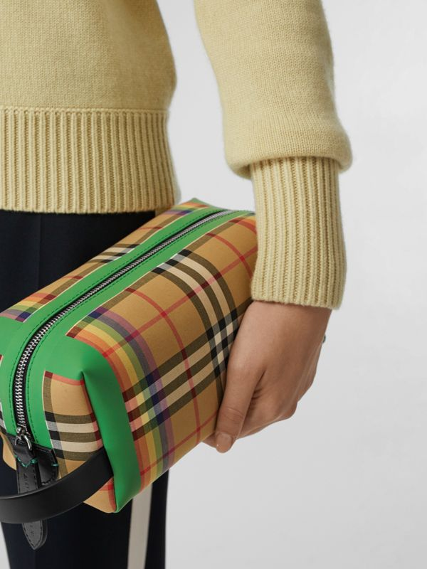 Rainbow Vintage Check Cotton Pouch in Antique Yellow - Women | Burberry United Kingdom - cell image 3
