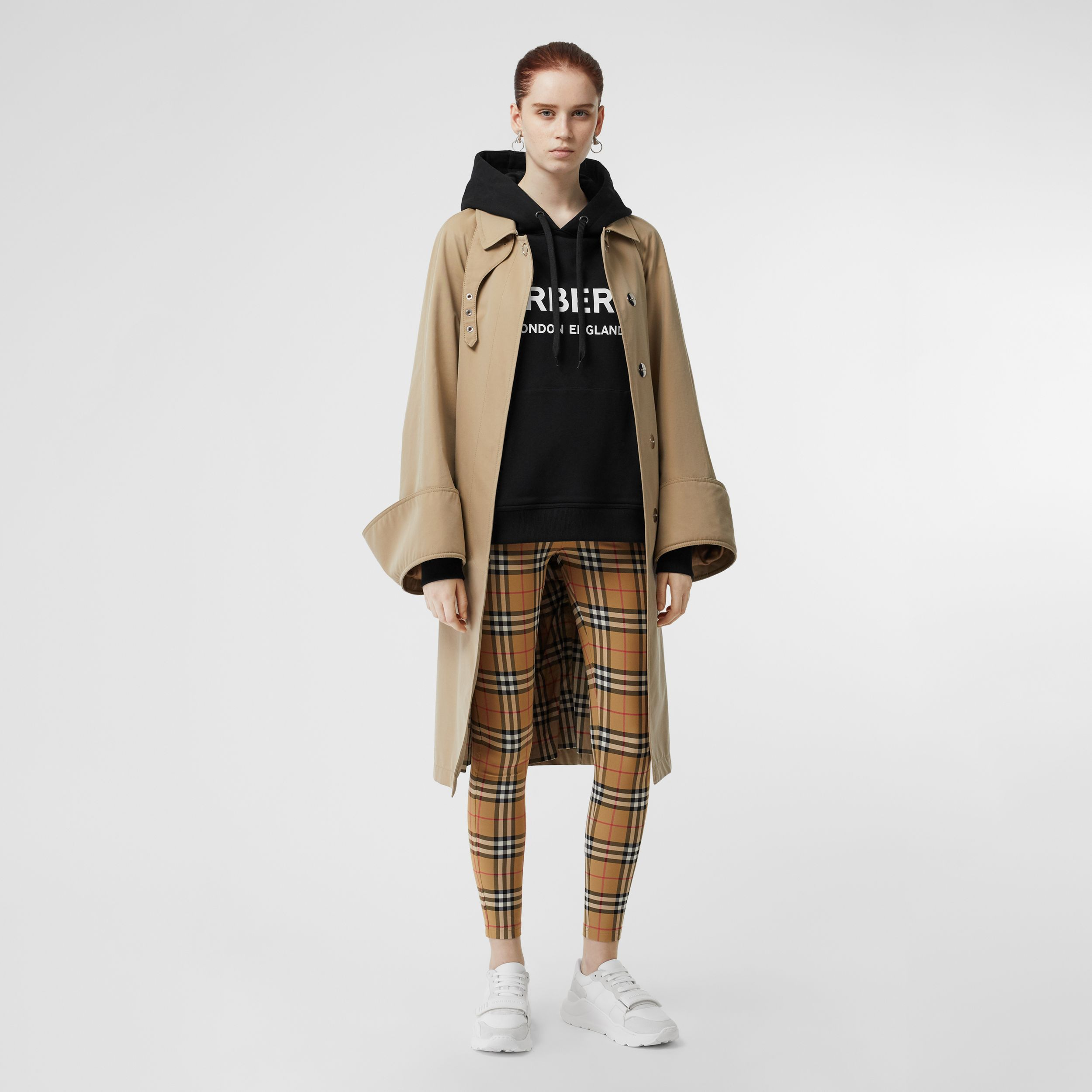 Logo Detail Vintage Check Leggings in Antique Yellow - Women | Burberry - 1