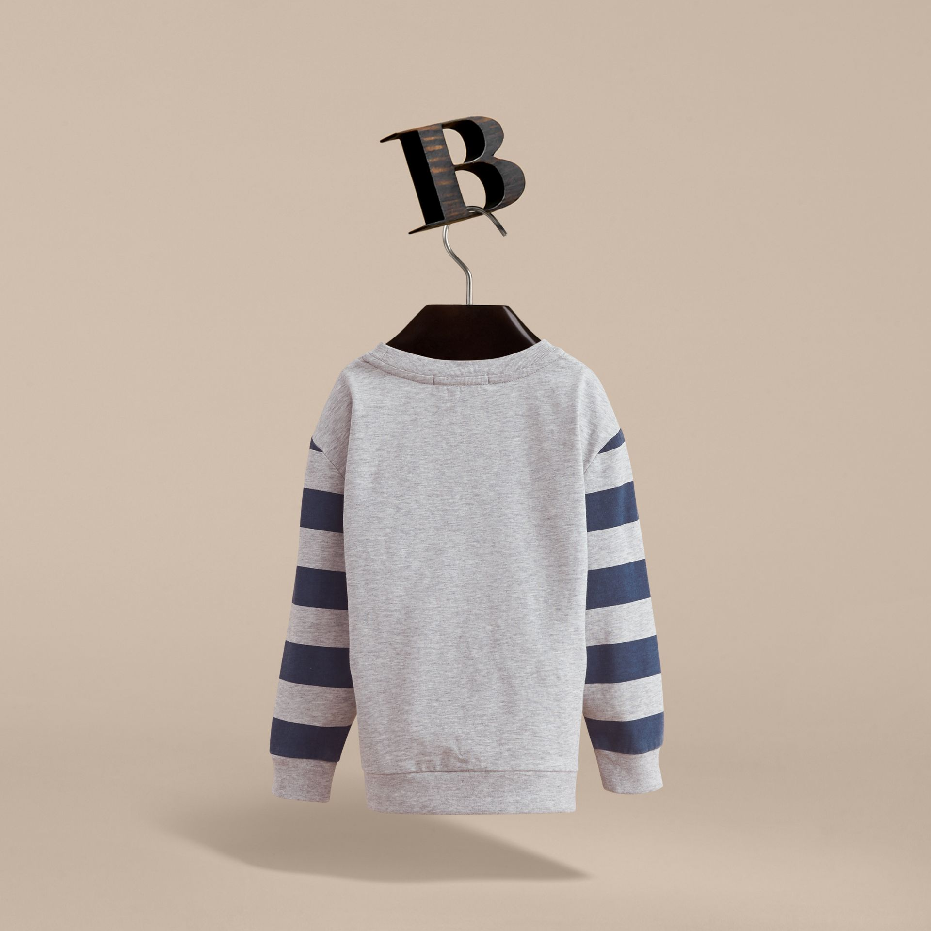 Long-sleeve London Icons Print Cotton T-shirt in Bright Navy Blue - Boy | Burberry - gallery image 3