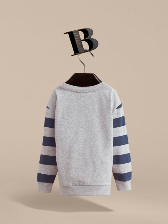 Long-sleeve London Icons Print Cotton T-shirt in Bright Navy Blue - Boy | Burberry - cell image 3