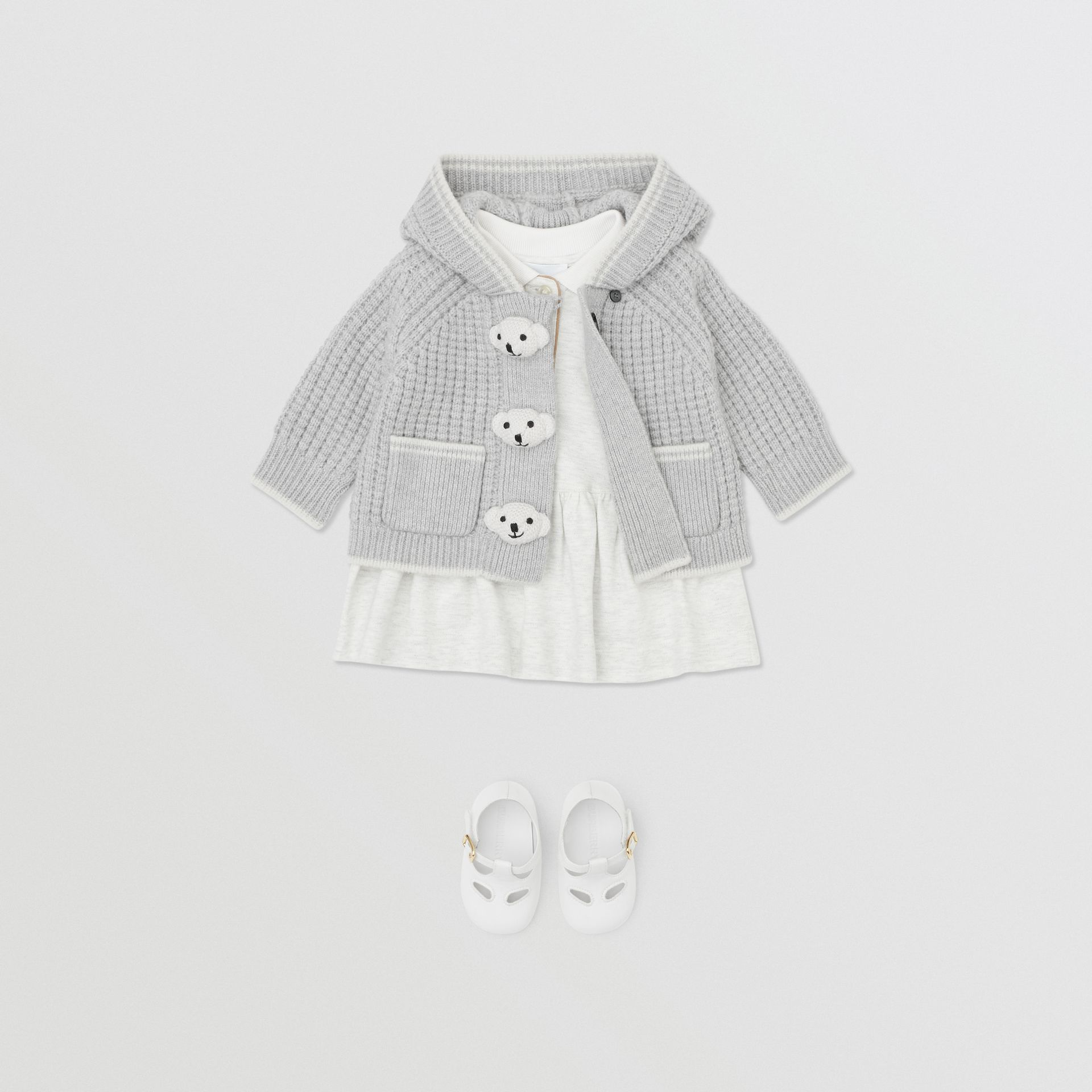 Thomas Bear Detail Wool Cashmere Hooded Jacket in Pale Grey - Children | Burberry - gallery image 2